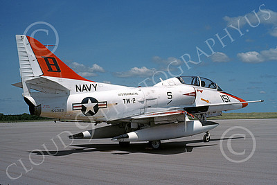 TA-4USN 00514 A static Douglas TA-4J Skyhawk jet attack trainer US Navy 155083 TW-2 USS Forrestal 6-1993 military airplane picture by Michael Grove, Sr