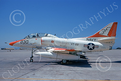 TA-4USN 00087 A static Douglas TA-4J Skyhawk jet attack trainer US Navy 15809 VT-22 GOLDEN EAGLES NAS Alameda 9-1973 military airplane picture by Michael Grove, Sr