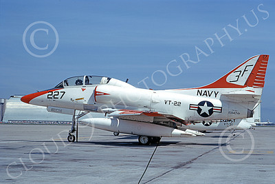 TA-4USN 00085 A static US Navy Douglas TA-4J Skyhawk jet attack trainer USN 158474 VT-22 GOLDEN EAGLES NAS Moffett 3-1973 military airplane picture by Michael Grove, Sr