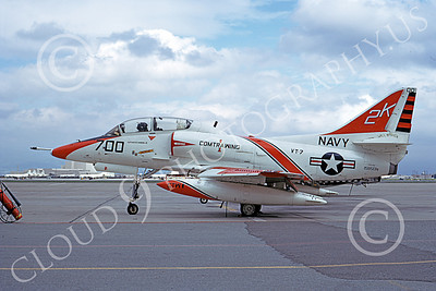 TA-4USN 00512 A static Douglas TA-4J Skyhawk jet attack trainer US Navy 158501 VT-7 EAGLES commanding officer's NAS Moffett 3-1973 military airplane picture by Michael Grove, Sr