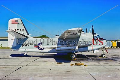 C-1USN-Miramar 001 A static Grumman C-1A Trader, USN 136769, Miramar, 11-1975 NAS Miramar, military airplane picture by Stephen W  D  Wolf     BBB_9880     Dt