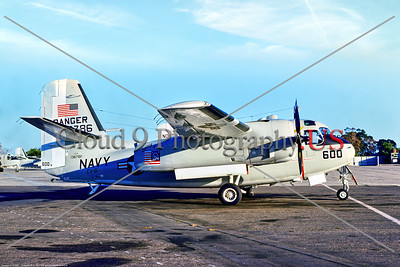 """C-1USN-Ranger 001 A static Grumman C-1A Trader, USN 136786, USS Ranger, with """"Spirit of '76"""" bicentennial markings, 11-1975 NAS North Island, military airplane picture by Stephen W  D  Wolf     BBB_9902     Dt"""