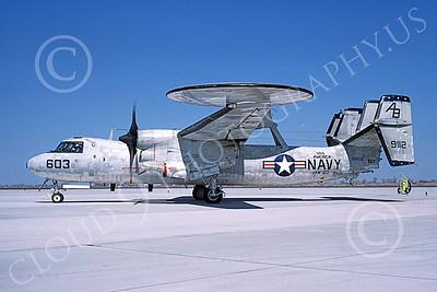 E-2USN 00139 A taxing Grumman E-2 Hawkeye USN 159112 VAW-123 SCREWTOPS USS America NAS Fallon 3-1985 military airplane picture by Michael Grove, Sr