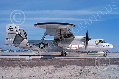 E-2USN 00127 A taxing Grumman E-2C Hawkeye USN 160990 VAW-122 HUMMER-GATORS USS Independence NAS Fallon 5-1980 military airplane picture by Michael Grove, Sr