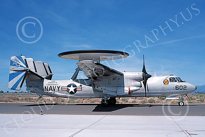 E-2USN 00157 A taxing Grumman E-2 Hawkeye USN 161096 VAW-121 BLUE TAILS USS Dwight D Eisenhower NAS Fallon 5-1987 military airplane picture by Michael Grove, Sr