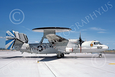 E-2USN 00167 A taxing Grumman E-2C Hawkeye USN 161346 VAW-121 BLUE TAILS USS Dwight D Eisenhower NAS Fallon 5-1987 military airplane picture by Michael Grove, Sr