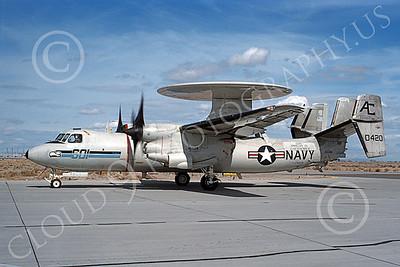 E-2USN 00137 A taxing Grumman E-2C Hawkeye USN 160420 USS Dwight D Eisenhower NAS Fallon 3-1994 military airplane picture by Michael Grove, Sr