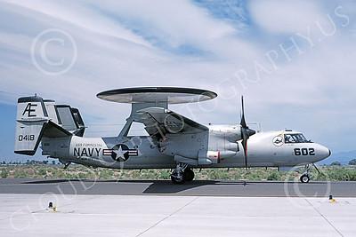 E-2USN 00131 A taxing Grumman E-2C Hawkeye USN 160418 VAW-122 HUMMER-GATORS USS Forrestal NAS Fallon 6-1987 military airplane picture by Michael Grove, Sr