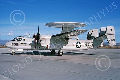 E-2USN 00143 A taxing Grumman E-2C Hawkeye USN 160008 VAW-127 SEABATS USS Coral Sea NAS Fallon 3-1987 military airplane picture by Michael Grove, Sr