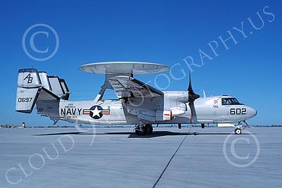 E-2USN 00137 A taxing Grumman E-2C Hawkeye USN 160697 VAW-123 SCREWTOPS USS America NAS Fallon 10-1983 military airplane picture by Michael Grove, Sr