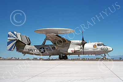 E-2USN 00151 A taxing Grumman E-2 Hawkeye USN 163024 VAW-121 BLUE TAILS USS Dwight D Eisenhower NAS Fallon 9-1989 military airplane picture by Michael Grove, Sr