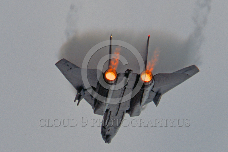 AB-F14USN 00005 A Grumman F-14 Tomcat USN jet fighe in afterburner creating vortex military airplane picture by Peter J Mancus