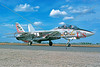 F-14USN-VF-211 0003 A static Grumman F-14 Tomcat USN jet fighter VF-211 CHECKMATES USS Constellation NAS Fallon 10-1976 military airplane picture by Peter B Lewis