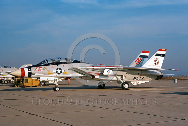 F-14USN-BIC 0002 A static Grumman F-14 Tomcat USN 159616 VF-124 GUNFIGHTERS NAS Miramar 1-1979 bicentennial markings military airplane picture by Michael Grove, Sr