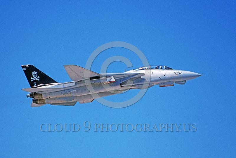 F-14USN-VF-103 0020 A flying Grumman F-14 Tomcat USN 160391 VF-103 SLUGGERS 6-1994 military airplane picture by Michael Grove, Sr