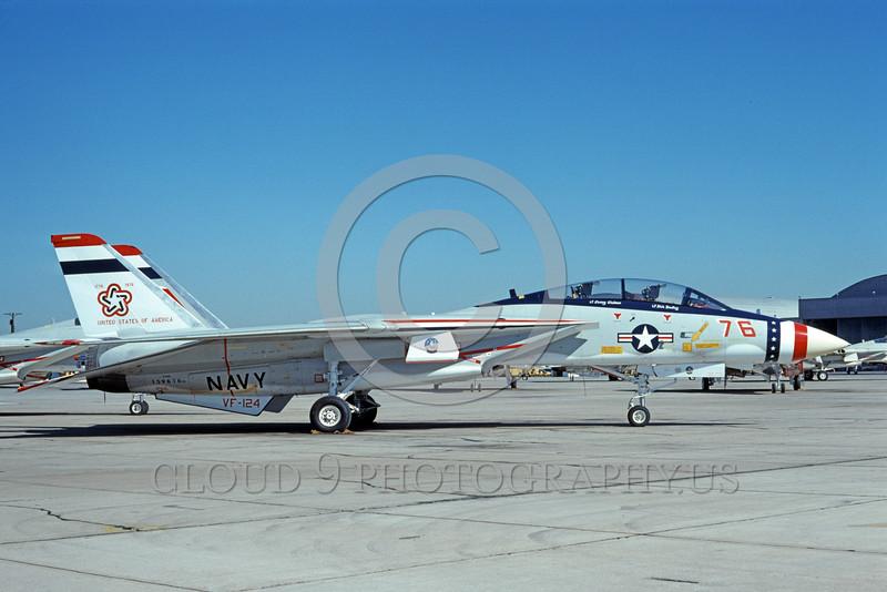 F-14USN-BIC 0003 A static Grumman F-14 Tomcat USN 159616 VF-124 GUNFIGHTERS NAS Miramar 1-1976 bicentnnial markings by Michael Grove, Sr