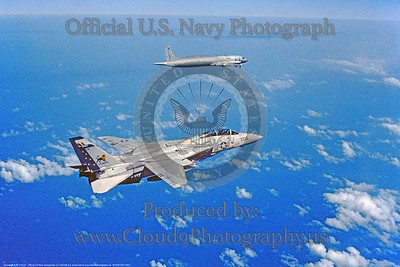 INTERCEPT 0001 A Grumman F-14 Tomcat USN jet fighter VF-213 BLACK LIONS USS America intercepts a Soviet long range maritine patrol aircraft official USN photograph via Tailhook Col  produced by Cloud 9 Photography     DONEwt