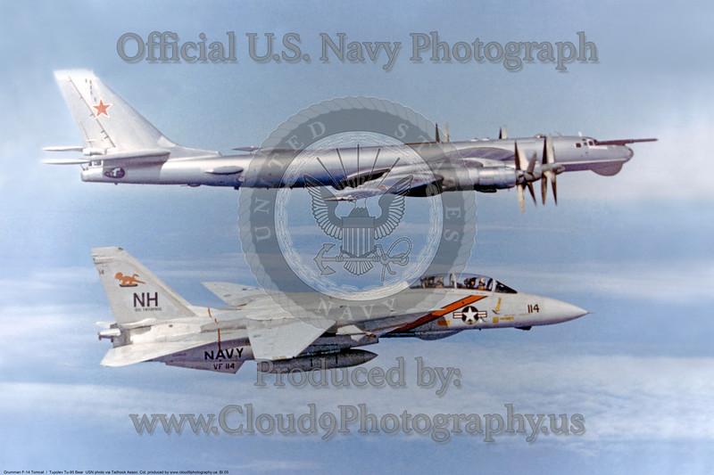 VF-114 Grumman F-14A Tomcat NH #114 off USS Enterprise (CVN-65) escorting a Soviet TU-95 Bear<br /> USN<br /> via Don JAy