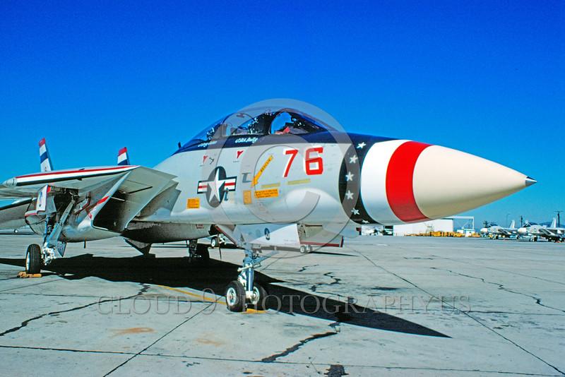 F-14USN-BIC 0004 A static Grumman F-14 Tomcat jet fighter USN bicentennial markings NAS Miramar 1976 military airplane picture by Warren D Shipp