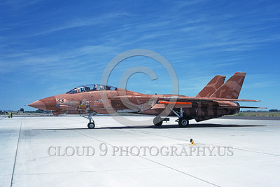 F-14USN-CAM 0004 A taxing pinkish-brown water color camouflage USN Grumman F-14 Tomcat jet fighter 158978 NAS Fallon 6-1985 military airplane picture by Michael Grove, Sr