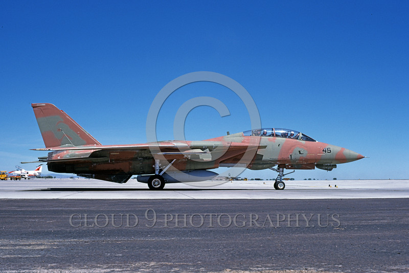 F-14USN-CAM 0002 A taxing pinkish-brown and green water color camouflage USN Grumman F-14 Tomcat jet fighter 159831 NAS Fallon 6-1985 military airplane picture by Michael Grove, Sr