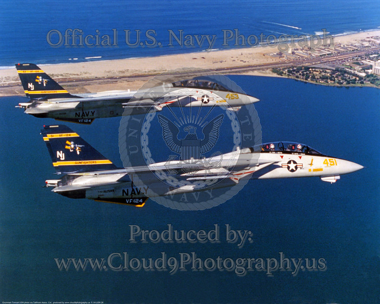 VF-124 Gunfighters Grumman F-14A Tomcats over Coronado strand. NJ 451 and 453.<br /> USN<br /> via Mike Roberts