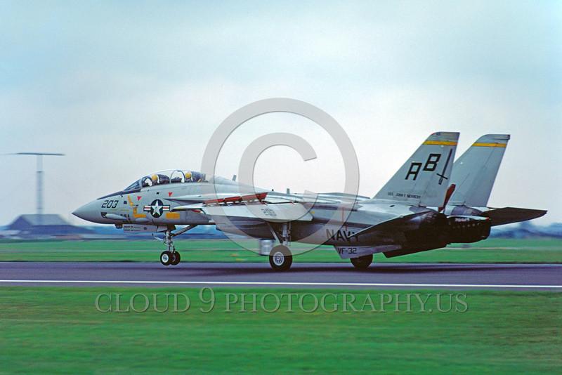 F-14USN-VF-32 0003 A landing Grumman F-14 Tomcat USN jet fighter VF-32 SWORDSMEN USS John F Kennedy 8-1978 military airplane picture by S W D Wolf