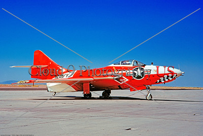 Drone-QF-9-USN 006 A static red and white Grumman QF-9 Cougar USN 144272 drone, with teeth, NAS China Lake 1968 military airplane picture by Peter J  Mancus     DONEwt