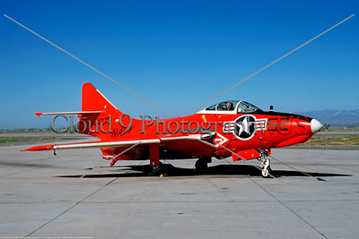 Drone-QF-9-USN 001 A static red Grumman QF-9 Courgar USN 144371 drone NAS China Lake 1969 military airplane picture by Clay Janson     DONEwt