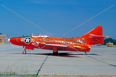 Drone-QF-9-USN 003 A static orange Grumman QF-9J Courgar US Navy 144337 NAS Johnsville 6-1965 military airplane picture by Frank MacSorley     DONEwt