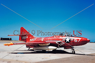 Drone-QF-9-USN 005 A static dark red Grumman QF-9 Cougar USN 131004 droone NAS Chine Lake 4-1961 military airplane picture by Clay Janson    DONEwt