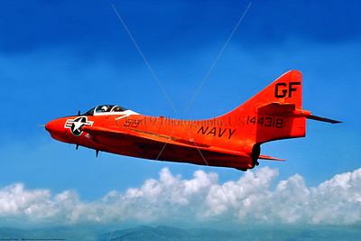 Drone-QF-9-USN 008 A flying bright orange Grumman QF-9 Cougar, USN ex-jet fighter target drone, 144318, GF code, official US Navy picture via Stephen W  D  Wolf collection, produced by Cloud 9 Photography     853_4908     Dt