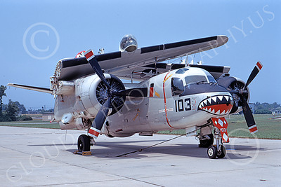 S-2USN 00023 A static Grumman S-2 Tracker USN with folded wings and SHARKMOUTH 7-1973 military airplane picture by Bill Binder