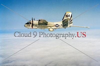 S-2USN-VS-37 0002 A flying Grumman S-2 Tracker USN anti-submarine airplane 152374 VS-37 SAWBUCKS USS Kitty Hawk NH tail code 5-1972 military airplane picture by Robert L Lawson     Dwt