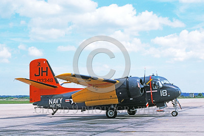 C-1USN-VCF-10 001 A static Grumman C-1 Trader USN 133348 VCF-10 JH code NAS Jax 3-1975 military airplane picture by Don Spering     DONEwt