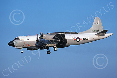 EP-3USN 00056 A landing Lockheed EP-3E Aries II USN 148887 VQ-1 WORLD WATCHERS PR code 5-1975 military airplane picture by Michael Grove, Sr