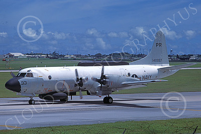 EP-3USN 00045 A taxing Lockheed EP-3E Aries II USN 148887 PR code Atsugi 7-1977 airplane picture by Ken Champs