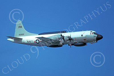 EP-3USN 00052 A flying Lockheed EP-3E Aries II USN 150501 VQ-1 WORLD WATCHERS 5-1975 military airplane picture by Michael Grove, Sr