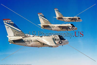 S-3USN-VS-28 002 Three flying Lockheed S-3A Vikings USN anti-submarien warfare airplanes VS-28 GAMBLERS USS America AE tail code 1-1977 military airplane picture by Robert L Lawson     Dwt