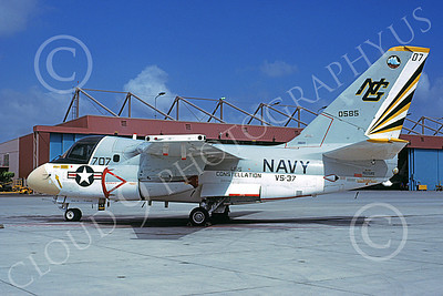 S-3USN 00013 A static Lockheed S-3 Viking USN 160585 VS-37 ROOSTER-TAILS USS Constellation NAS North Island 9-1978 military airplane picture by Michael Grove, Sr
