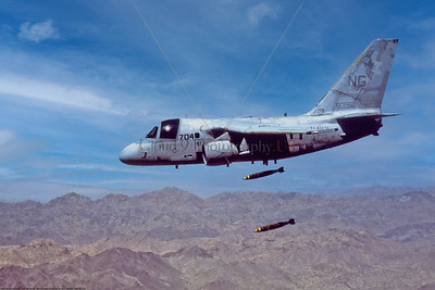 S-3-USN-VS-33 001 A flying Lockheed S-3 Viking, USN ASW aircraft, VS-33 SCREWBIRDS, dropping real bombs, USN photo via Tailhook Assoc produced by Cloud 9 Photography  T