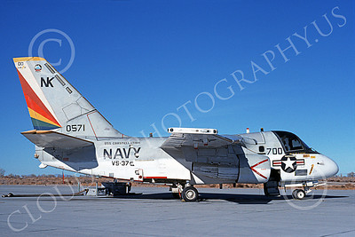 S-3USN 00007 A static Lockheed S-3 Viking USN 0571 VS-37 ROOSTER-TAILS commander's aircraft USS Constellation NAS Fallon 12-1989 military airplane picture by Michael Grove, Sr