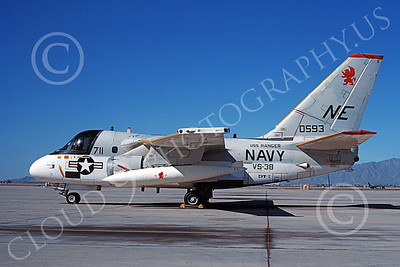 S-3USN 00017 A static Lockheed S-3 Viking USN 0593 VS-38 CLAW CLAN USS Ranger Luke AFB 10-1988 military airplane picture by Michael Grove, Sr