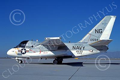 S-3USN 00037 A static Lockheed S-3 Viking USN 160594 VS-33 SCREWBIRDS USS Nimitz Luke AFB 9-1987 military airplane picture by Douglas E Slowiak