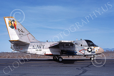 S-3USN 00003 A taxing Lockheed S-3A Viking USN VS-29 TROMBONERS USS Carl Vinson NAS Fallon 3-1984 military airplane picture by Michael Grove, Sr