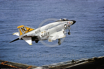 F-4II-USN-VF-21 0002 A McDonnell Douglas F-4J Phantom II USN jet fighter 158372 VF-21 FREELANCERS takes off from the USS Ranger military airplane picture by Robert L  Lawson via Tailhook Col      DONEwt
