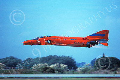 F-4USN 00570 A flying red-orange McDonnell Douglas QF-4 Phantom II US Navy 9434 NAS Pt Mugu 11-1979 military airplane picture by Michael Grove, Sr