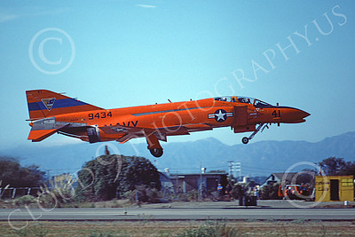 F-4USN 00690 A flying McDonnell Douglas QF-4 Phantom II US Navy 9434 NAS Pt Mugu 12-1981 military airplane picture by Michael Grove, Sr