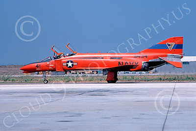 F-4USN 00629 A taxing red-orange McDonnell Douglas QF-4 Phantom II US Navy 9434 NAS Pt Mugu 10-1981 military airplane picture by Paul Minert