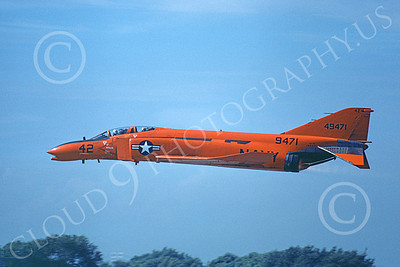 F-4USN 00252 A flying red-orange McDonnell Douglas QF-4 Phantom II US Navy 9471 NAS Pt Mugu 11-1979 military airplane picture by Michael Grove, Sr